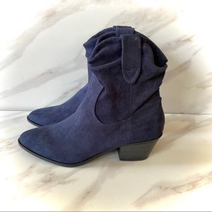 ESPRIT Navy Faux Suede Western Style Mid Calf Boot